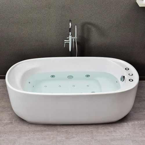 "WOODBRIDGE 67"" Whirlpool Water Jetted and Air Bubble Freestanding Bathtub, B-0035, Whirlpool & Air,BTS1635"