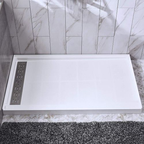 "Woodbridge SBR4836-1000L Solid Surface Shower Base with Recessed Trench Side Including Stainless Steel Linear Cover, 48"" L x 36"" W x4 H,Left Drain White Color"