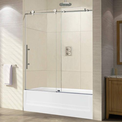 "WOODBRIDGE Frameless Sliding Shower, 56""-60"" Width, 62"" Height, 3/8"" (10 mm) Clear Tempered Glass, Chrome Finish, Designed for Smooth Door Closing. MBSDC6062-C"