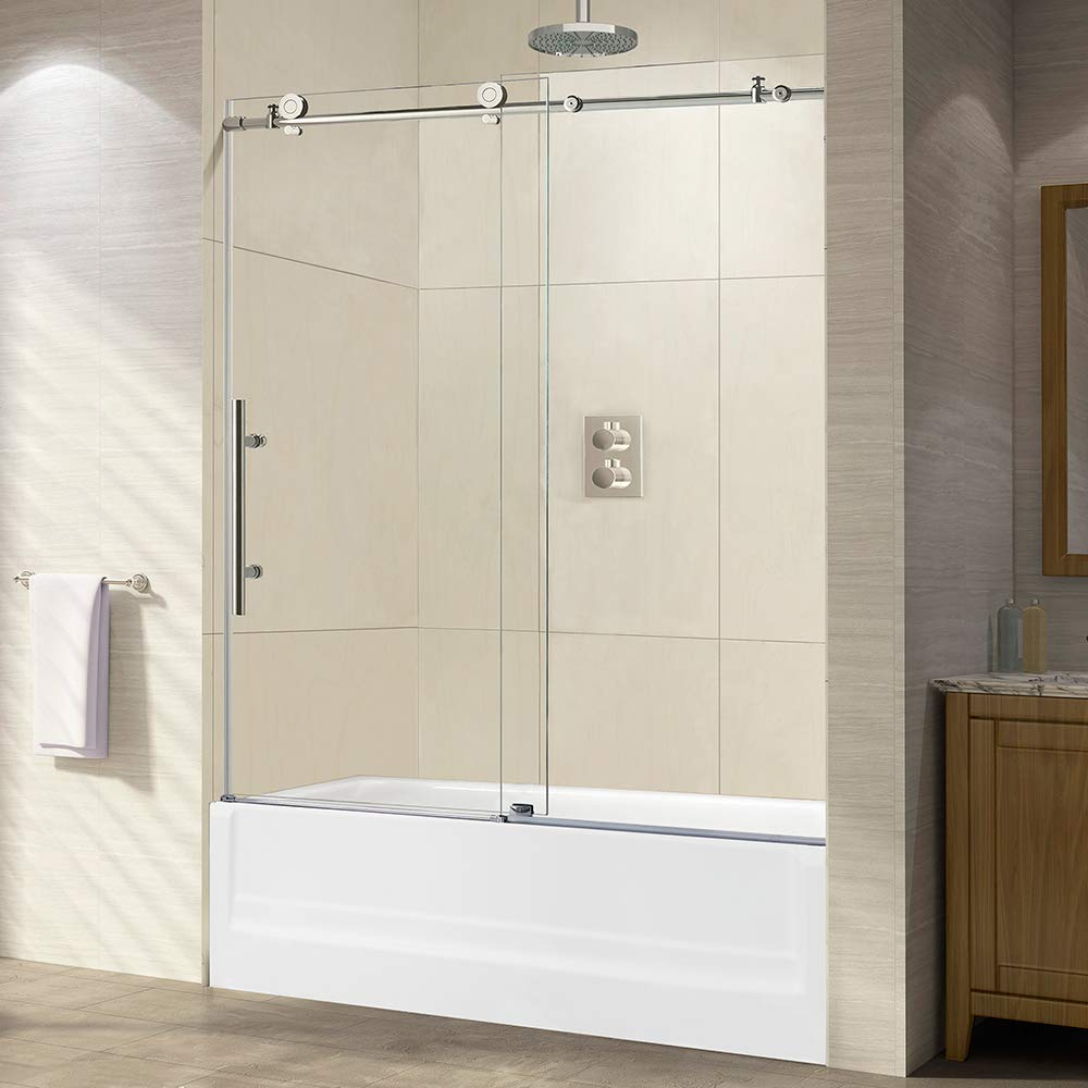 "WOODBRIDGE Frameless Sliding Shower, 56""-60"" Width, 62"" Height, 3/8"" (10 mm) Clear Tempered Glass, Chrome Finish, Designed for Smooth Door Closing. MBSDC6062-C, D-Series: 60""x62"""
