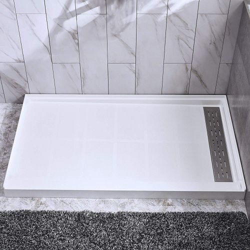 "Woodbridge SBR6034-1000R Solid Surface Shower Base with Recessed Trench Side Including Stainless Steel Linear Cover, 60"" L x 34"" W x 4"" H, Right Drain, White Color"