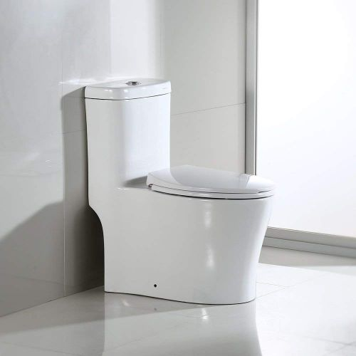 WOODBRIDGE B0933-2/T-0033L T-0033 Dual Flush Elongated One Piece Toilet with Soft Closing Seat, WHITE