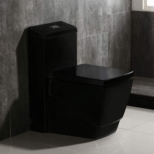 Woodbridge B0921 Dual Flush Elongated One Piece Toilet, Square Design,Black Color