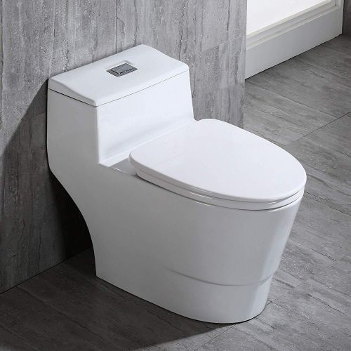 WOODBRIDGE T-0018/B-0735 Dual Flush Elongated One Piece Soft Closing Seat, Comfort Height, White T-0018/B0735, Modern Toilet