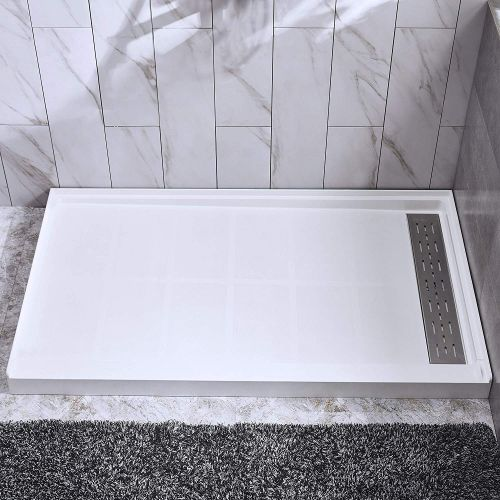 "Woodbridge SBR6032-1000R Solid Surface Shower Base with Recessed Trench Side Including Stainless Steel Linear Cover, 60"" L x 32"" W x 4"" H, Right Drain, White Color"