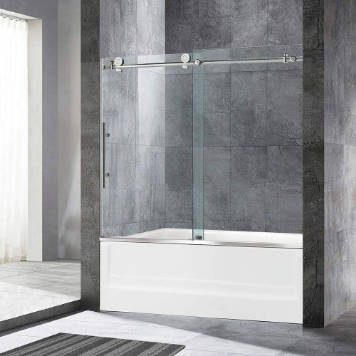 "WOODBRIDGE MBSDC6062-B3 MBSDC6062B Frameless Sliding Shower, 56""-60"" Width, 62"" Height, 3/8"" (10mm) Clear Tempered Glass, Brushed Nickel Finish, Designed for Smooth Door Closing and Opening. MBSDC6062-B, C-Series: 60""x62"" II"