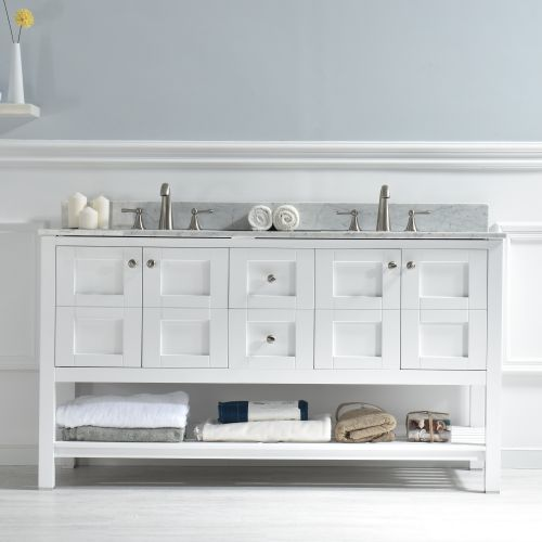 "WoodBridge 60"" Solid Wood Vanities with Carra White Marble Top with Two Rectangle Bowls, White Color. Sydney-6021D"