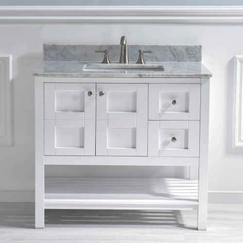 "Woodbridge Sydney-3621R-White 36""x21"" Solid Wood Vanities with Carra Marble Top with Rectangle Bowl, White Color"