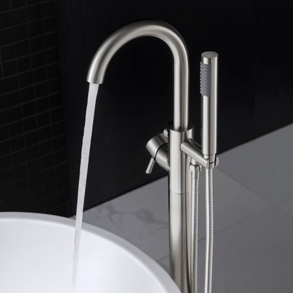 Á… Woodbridge F0001bn Contemporary Single Handle Floor Mount Freestanding Tub Filler Faucet With Hand Shower In Brushed Nickel Finish Woodbridge