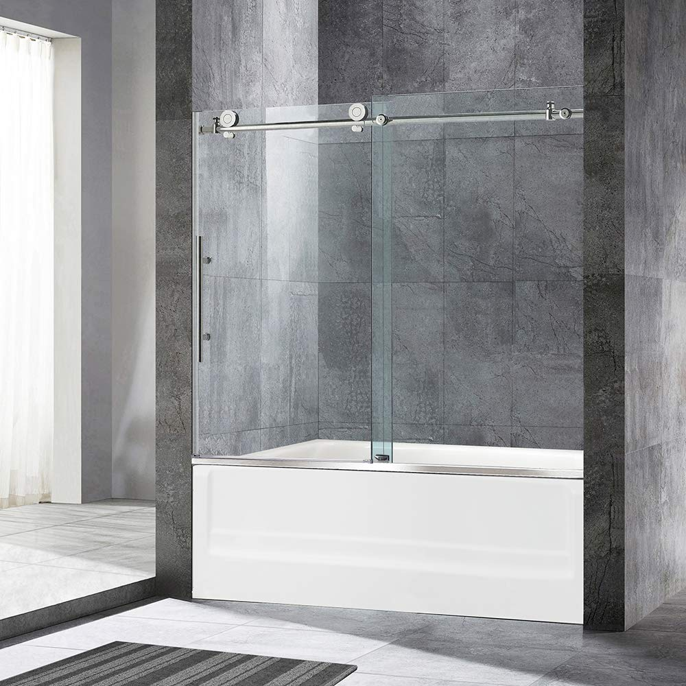 "WOODBRIDGE MBSDC6062-B3 MBSDC6062B Frameless Sliding Shower, 56""-60"" Width, 62"" Height, 3/8"" (10mm) Clear Tempered Glass, Brushed Nickel Finish, Designed for Smooth Door Closing and Opening. MBSDC6062-B, D-Series: 60""x62"""