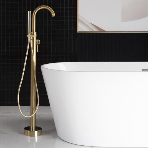 WOODBRIDGE F0007BGRD Contemporary Single Handle Floor Mount Freestanding Tub Filler Faucet with Hand shower in Brushed Gold Finish.
