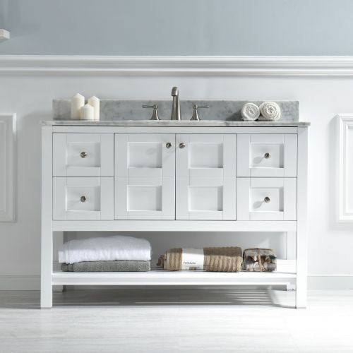 "Woodbridge Sydney-4821-White 48""x21"" Solid Wood Vanities with Carra Marble Top with Rectangle Bowl, White Color."