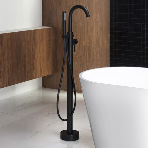 WOODBRIDGEE F0006BLRD Contemporary Single Handle Floor Mount Freestanding Tub Filler Faucet with Hand shower in Matte Black Finish.