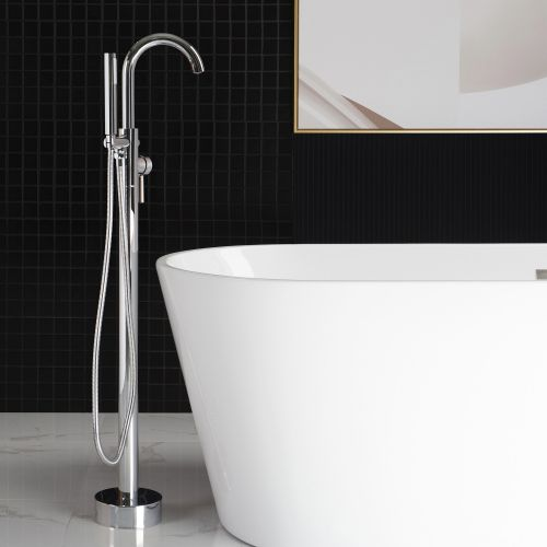 WOODBRIDGE F0002CHRD Contemporary Single Handle Floor Mount Freestanding Tub Filler Faucet with Hand shower in Chrome Finish.
