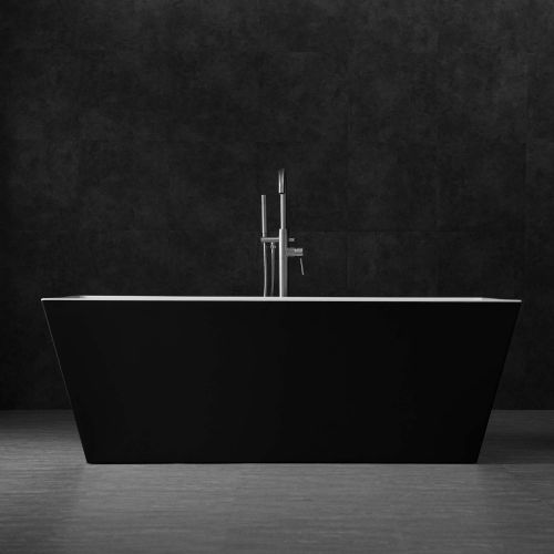 "Woodbridge 67"" Acrylic Freestanding Bathtub Contemporary Soaking Tub with Brushed Nickel Overflow and Drain BTA1812,Black"