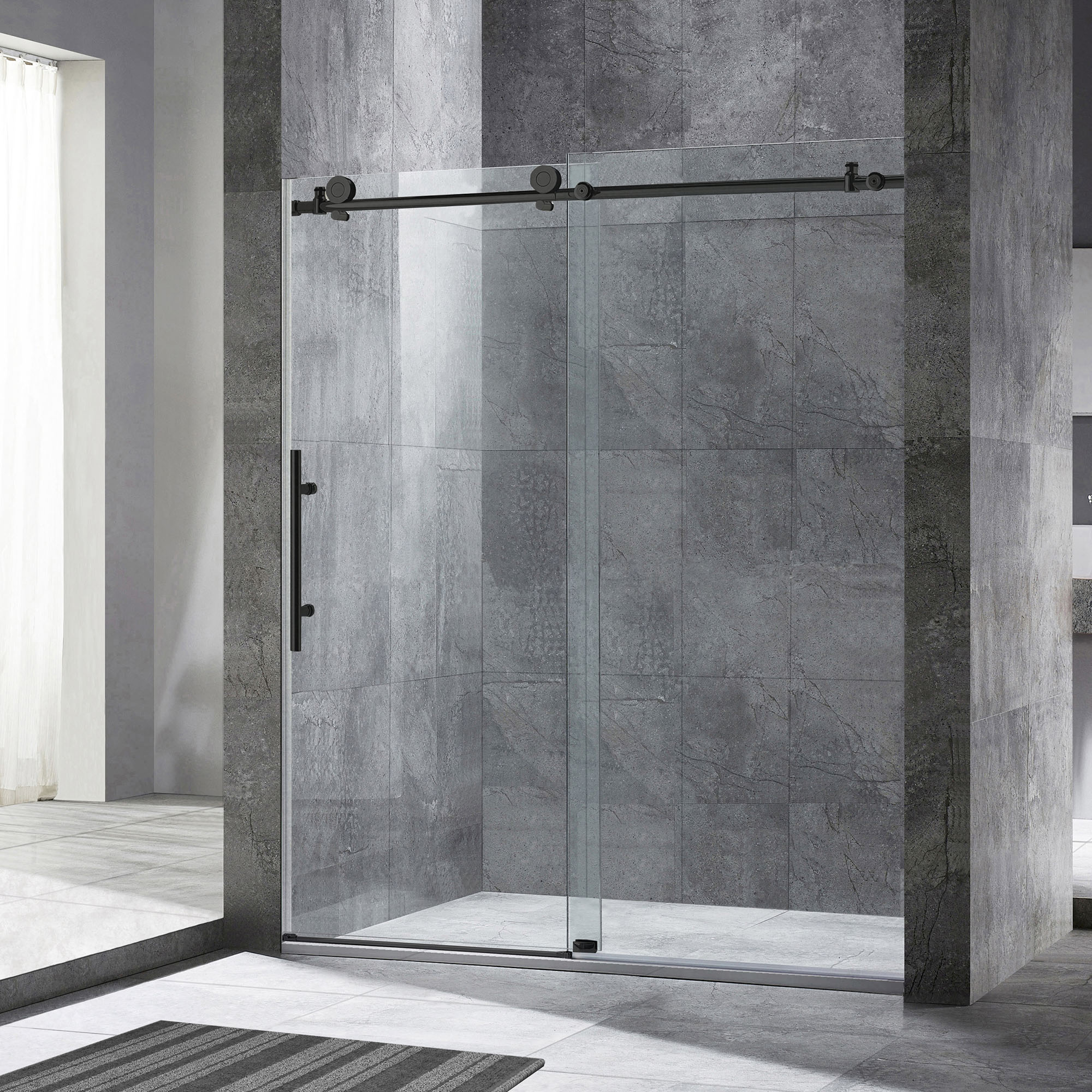 "WOODBRIDGE Frameless Sliding Shower, 56""-60"" Width, 76"" Height, 3/8"" (10 mm) Clear Tempered Glass, Black Finish, Designed for Smooth Door Closing. MBSDC6076-MBL, 60""x 76"" Matte Black"