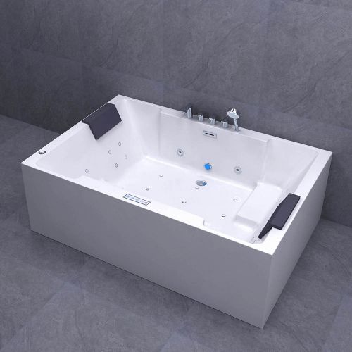 WOODBRIDGE 2 Person Freestanding Massage Hydrotherapy Bathtub Hot Tub Spa, with Inline Heater. BTS-0090, WHITE