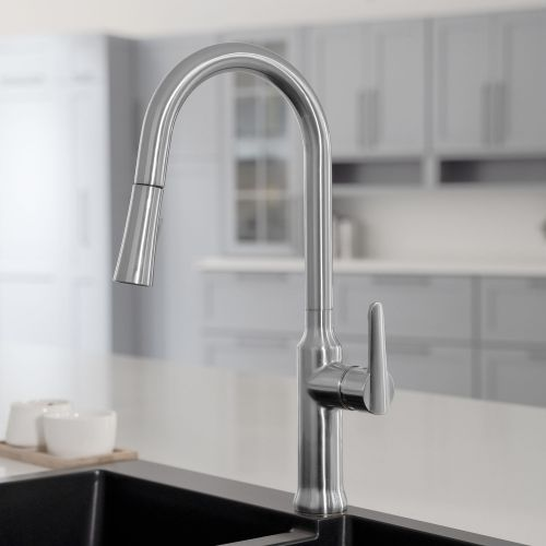 WOODBRIDGE WK030102CH Stainless Steel Single Handle Pre-Rinse Kitchen Faucet with Pull Down Sprayer, Chrome Finish