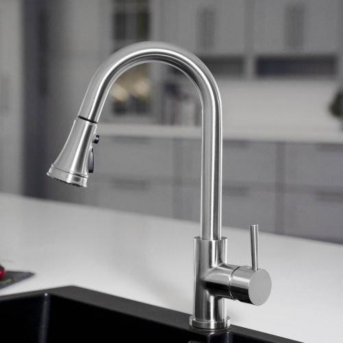 WOODBRIDGE WK090801CH Stainless Steel Single Handle Pull Down Kitchen Faucet in Chrome Finish.