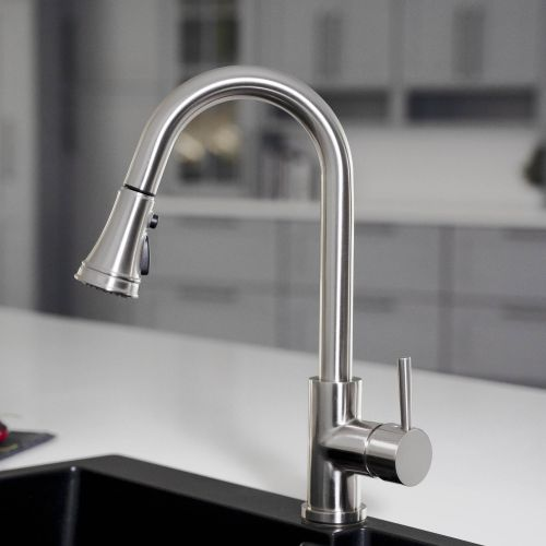 WOODBRIDGE WK090801BN Stainless Steel Single Handle Pull Down Kitchen Faucet in Brushed Nickel Finish.