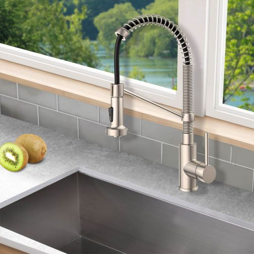 Woodbridge Stainless Steel, Water-Efficient & Drip-Free Performance Kitchen Sink Faucets with Pullout Sprayer, Brushed Nickel Finish,WK010203 BN