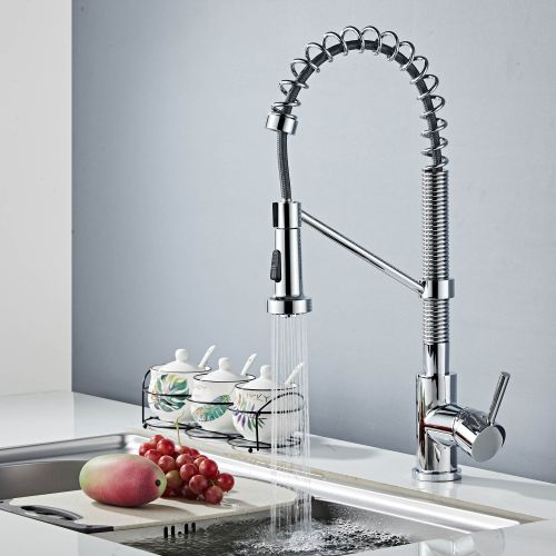 Woodbridge Stainless Steel, Water-Efficient & Drip-Free Performance Kitchen Sink Faucets with Pullout Sprayer