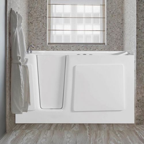 "WOODBRIDGE Whirlpool and Air Jet Series Inline Heater with Left Side Drain Walk-in-Bathtub, ADA Complaint, 60"" L x 30"" W x 38"" H, WB603038L, WHITE"
