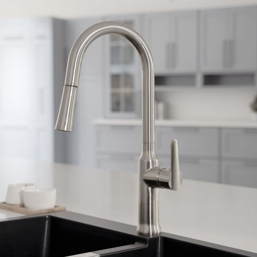 WOODBRIDGE WK030102BN Stainless Steel Single Handle Pre-Rinse Kitchen Faucet with Pull Down Sprayer, Brushed Nickel Finish