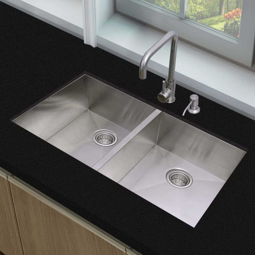 Woodbridge Kitchen Sink, 50/50 Double Bowl,33 Inch, 2 Holes,Stainless Steel MKA3319DM