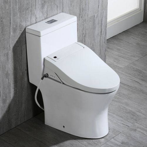 Woodbridge Luxury, Elongated One Piece Toilet with Advanced Bidet Seat, T0022, White