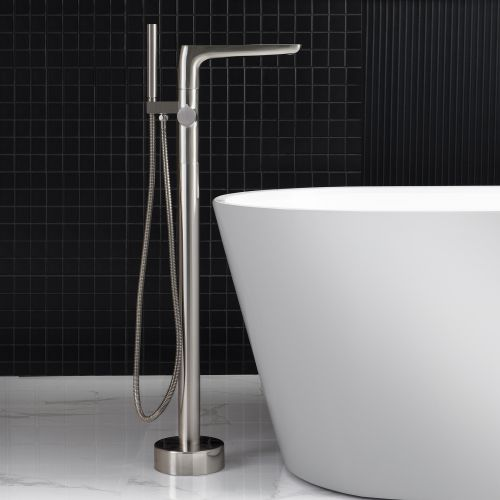 WOODBRIDGE F0014BN Contemporary Single Handle Floor Mount Freestanding Tub Filler Faucet with Hand shower in Brushed Nickel Finish.