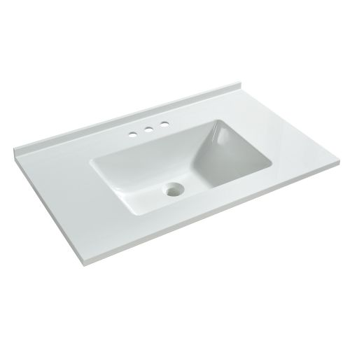 WOODBRIDGE VT3119-1000 Solid Surface Vanity Top with with Intergrated Sink and 3 Faucet Holes for 4-Inch Centerset Faucet, 31