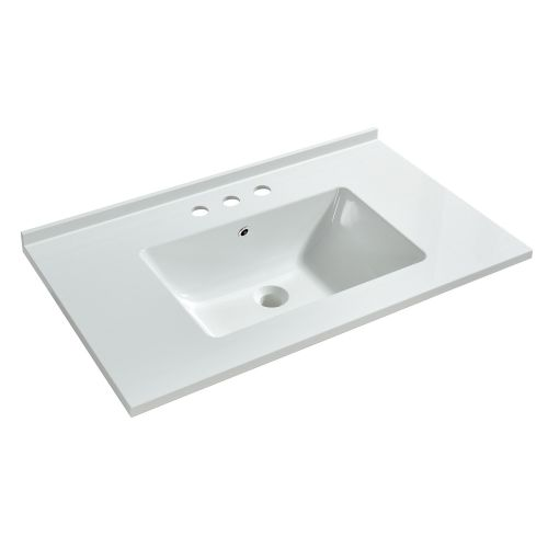 WOODBRIDGE VT3122-1000 Solid Surface Vanity Top with with Intergrated Sink and 3 Faucet Holes for 4-Inch Centerset Faucet, 31