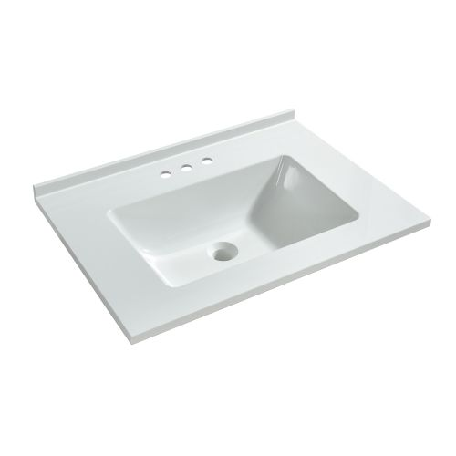 WOODBRIDGE VT2519-1000 Solid Surface Vanity Top with with Intergrated Sink and 3 Faucet Holes for 4-Inch Centerset Faucet, 25