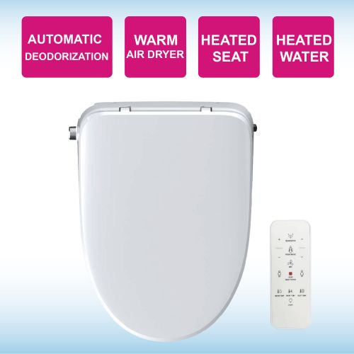 WOODBRIDGE Elongated Smart Bidet Toilet Seat, Electronic Advanced Self Cleaning, SoftClose Lid, Automatic Deodorization, Model: BID 02