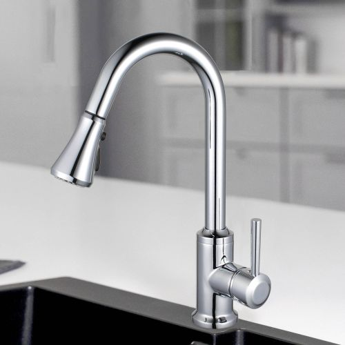 WOODBRIDGE WK101201CH Stainless Steel Single Handle Pull Down Kitchen Faucet in Chrome Finish.