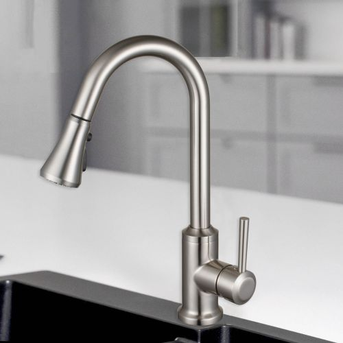 WOODBRIDGE WK101201BN Stainless Steel Single Handle Pull Down Kitchen Faucet in Brushed Nickel Finish.