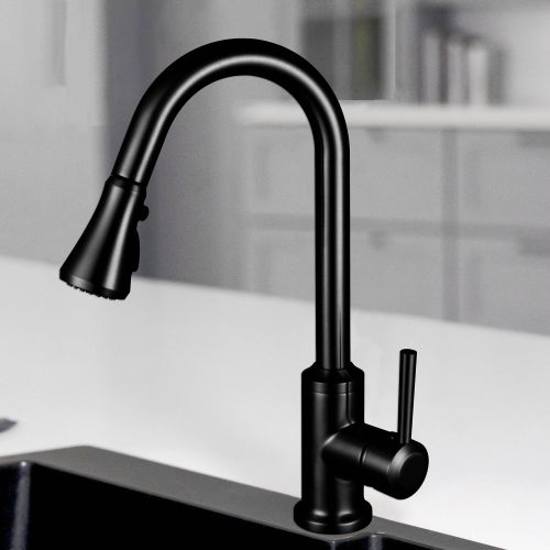 WOODBRIDGE WK101201BL Stainless Steel Single Handle Pull Down Kitchen Faucet in Matte Black Finish.