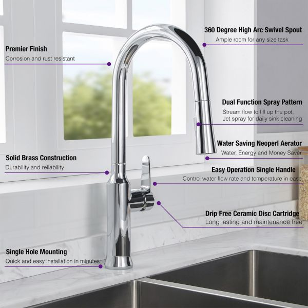 Á… Woodbridge Wk030102ch Stainless Steel Single Handle Pre Rinse Kitchen Faucet With Pull Down Sprayer Chrome Finish Woodbridge