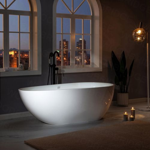 WOODBRIDGE 67 in. Freestanding Double Ended Solid Surface Soaking Bathtub with Center Drain Assembly and Overflow, B0050/BTA0050, Glossy White