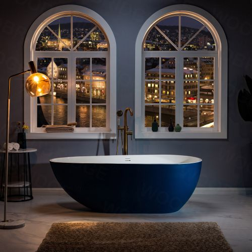 WOODBRIDGE 67 in. Freestanding Double Ended Solid Surface Soaking Bathtub with Center Drain Assembly and Overflow, BTA0053/BTA0053, Glossy White (Inside) Satin Blue (Outside)