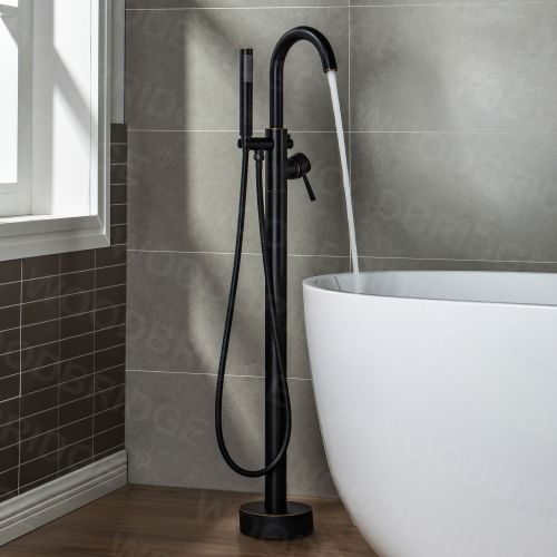 WOODBRIDGEE F0010ORBRD Contemporary Single Handle Floor Mount Freestanding Tub Filler Faucet with Hand shower in Oil Rubbed Bronze Finish.