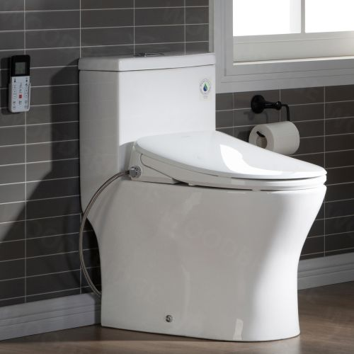 WOODBRIDGE T-0044 One Piece 1.1GPF/1.6 GPF Dual Flush Elongated Toilet with Advance Smart Washlet Bidet in White
