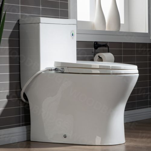 WOODBRIDGE T-0045 Modern One Piece Elongated High Effiency Toilet with Manual Operated Soft-Closed Bidet Seat, White