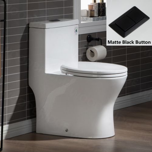 WOODBRIDGE One Piece Short Compact Bathroom Tiny Mini Commode Water Closet Dual Flush Concealed Trapway, Matte Black Button B0500-MB, White