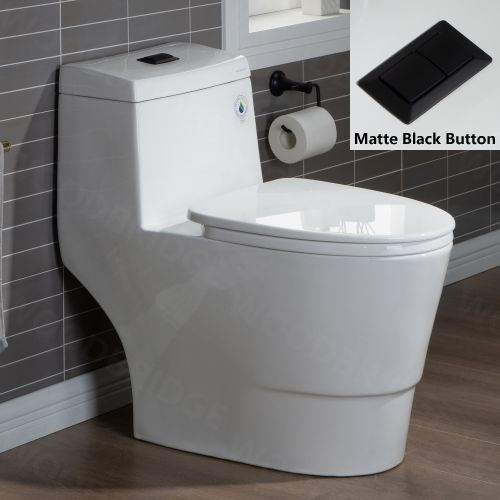 WOODBRIDGE One Piece, 1.28 GPF Dual, Comfort Height, Water Sensed, 1000 Gram MaP Flushing Score Toilet with Matte Black Button T0001-MB, White