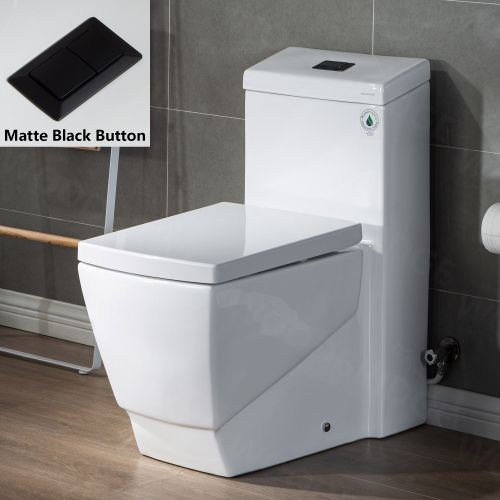 WOODBRIDGE Modern Square Design One Piece Dual Flush 1.28 GP Toilet,with Soft Closing Seat, Matte Black Button B0920-MB, White