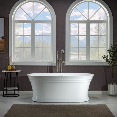WOODBRIDGE 67 in. Freestanding Double Ended Acrylic Soaking Bathtub with Center Drain Assembly and Overflow, BTA1537/B1537, Glossy White