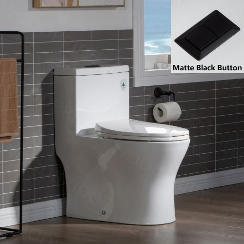 WOODBRIDGE Modern One Piece Dual Flush 1.28 GP Toilet,with Soft Closing Seat, Matte Black Button B0750-MB, White