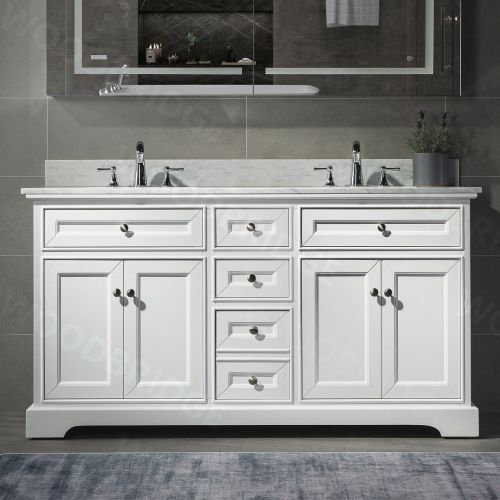 "WOODBRIDGE 60"" x 21"" Solid Wood Vanities in White with Carrara White Marble Top and Two Rectangle Undermount Vitreous China Sink in White, London-6021D-White"